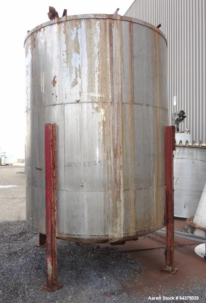 "Used- Tank, 4000 Gallon, 316 Stainless Steel, Vertical. Approximate 102"" diameter x 120"" straight side, flat welded top, dis..."