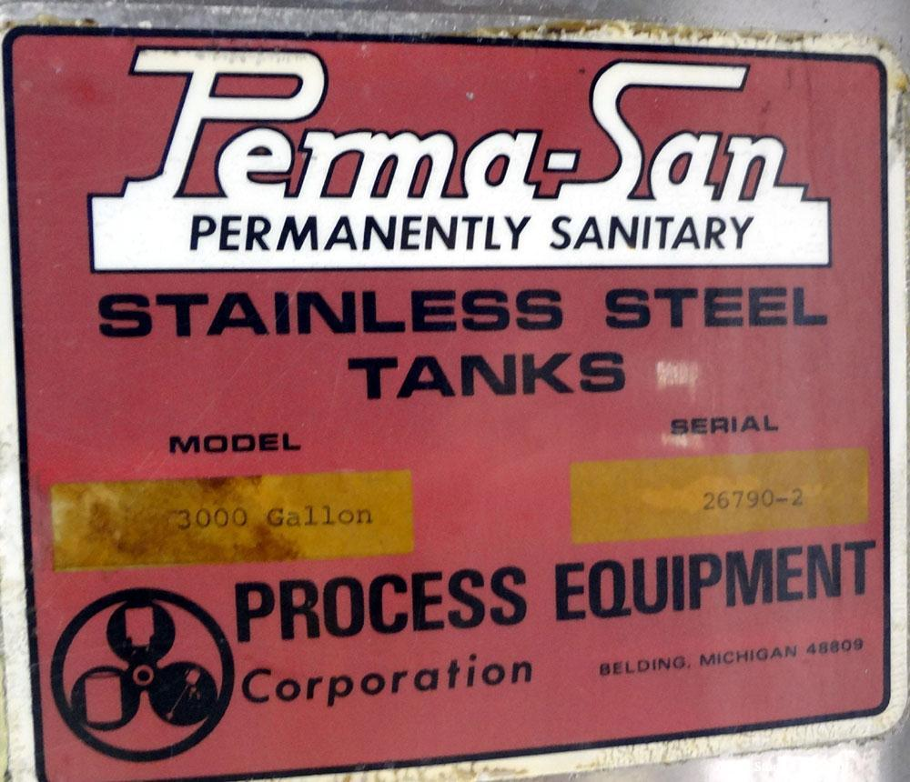 "Used- Perma-San Tank, 3000 Gallon, 304 Stainless Steel, Vertical.  Approximately 80"" diameter x 143"" straight side, flat wel..."