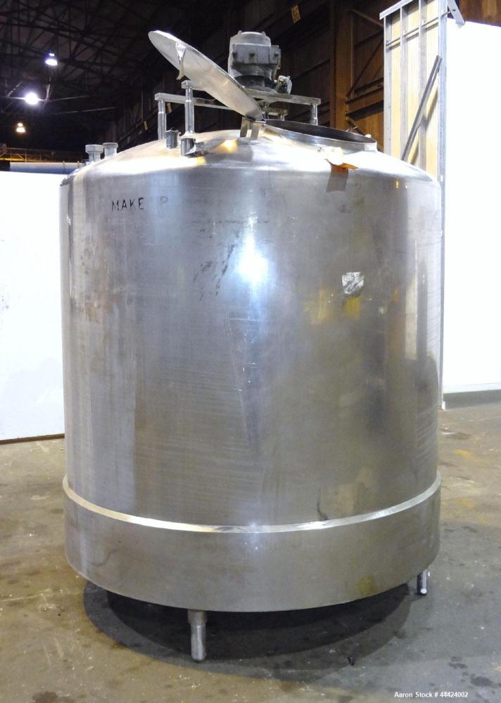 "Used- Tank, 1000 Gallon, 304 Stainless Steel, Vertical.  Approximately 72"" diameter x 60"" straight side, dished top, sloped ..."