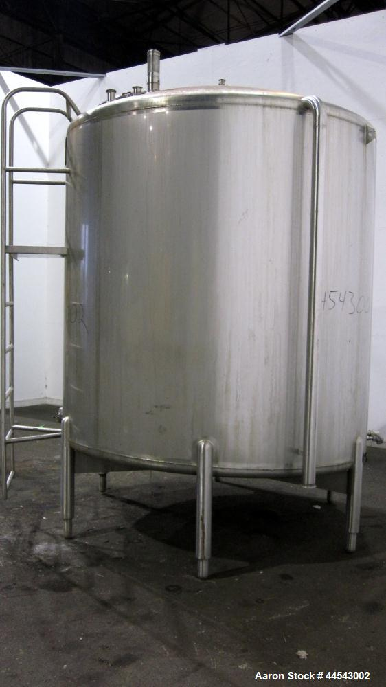 "Used- Cherry Burrell Tank, 2000 Gallon, 304 Stainless Steel, Vertical. 84"" Diameter x 81"" straight side, dished top, sloped ..."