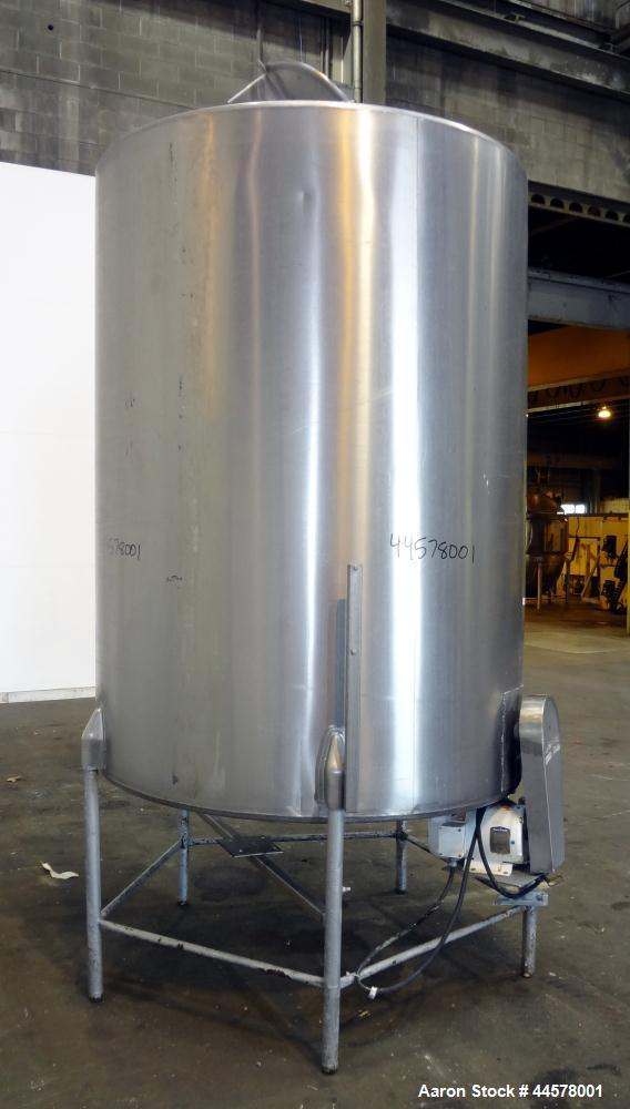 "Used- Tank, 1000 Gallon, 304 Stainless Steel, Vertical. 60"" Diameter x 82"" straight side, flat welded top, sloped bottom. Si..."