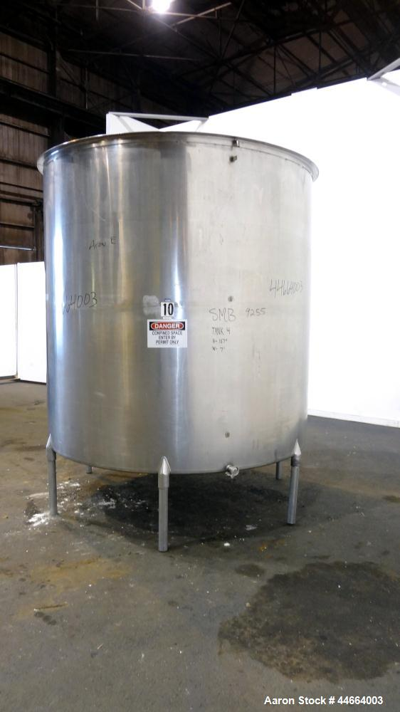 "Used- Filpaco Tank, 2000 Gallons, 304 Stainless Steel, Vertical. 86"" Diameter X 84"" straight side, open top with (2) covers,..."