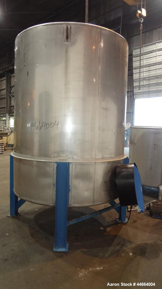 "Used- Perry Products Tank, 1850 Gallons, 304 Stainless Steel, Vertical. 78"" Diameter x 96"" straight side, cone top and botto..."