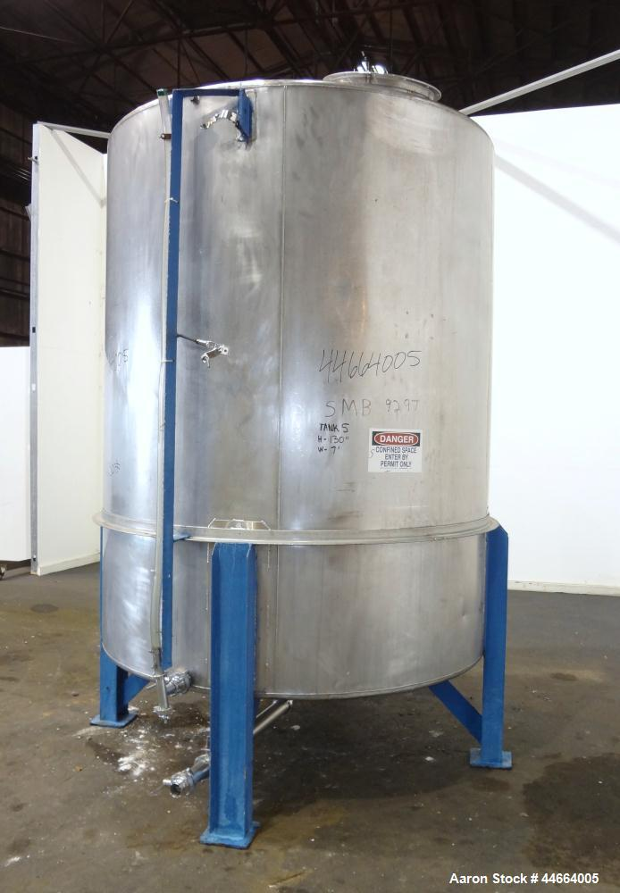 "Used- Tank, 2000 Gallons, 304 Stainless Steel, Vertical. 78"" Diameter X 96"" straight side, cone top and bottom. Side bottom ..."