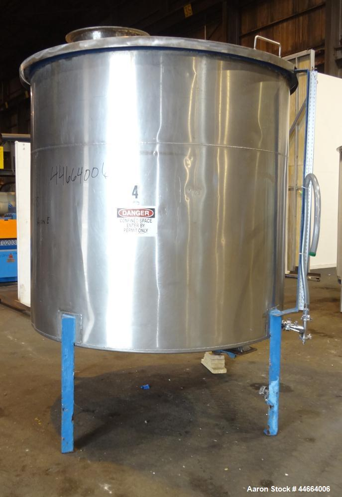 "Used- Charles S. Jacobwitz Tank, 1500 Gallons, 304 Stainless Steel, Vertical. Approximately 78""diameter x 70"" straight side,..."