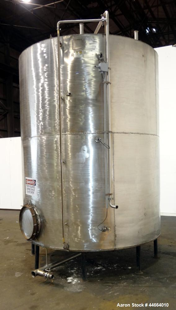 "Used- Tank, 3000 Gallons, 304 Stainless Steel, Vertical. 90"" Diameter x 110"" straight side, flat top, dish bottom. (1) Spray..."