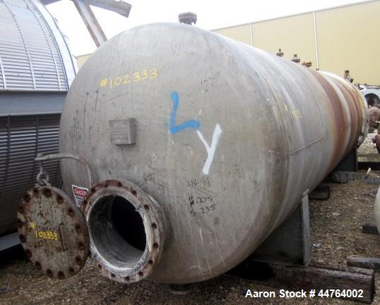 "Used- Harris Tanks Pressure Tank, 4500 Gallon, 316L Stainless Steel, Horizontal. 72"" Diameter x 240"" straight side, dished h..."
