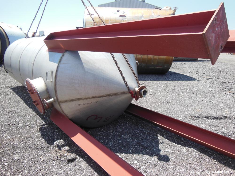 "Used- Par Piping & Fabrication Tank, 3500 Gallon, 304 Stainless Steel, Vertical. 72"" Diameter x 192"" straight side, coned to..."