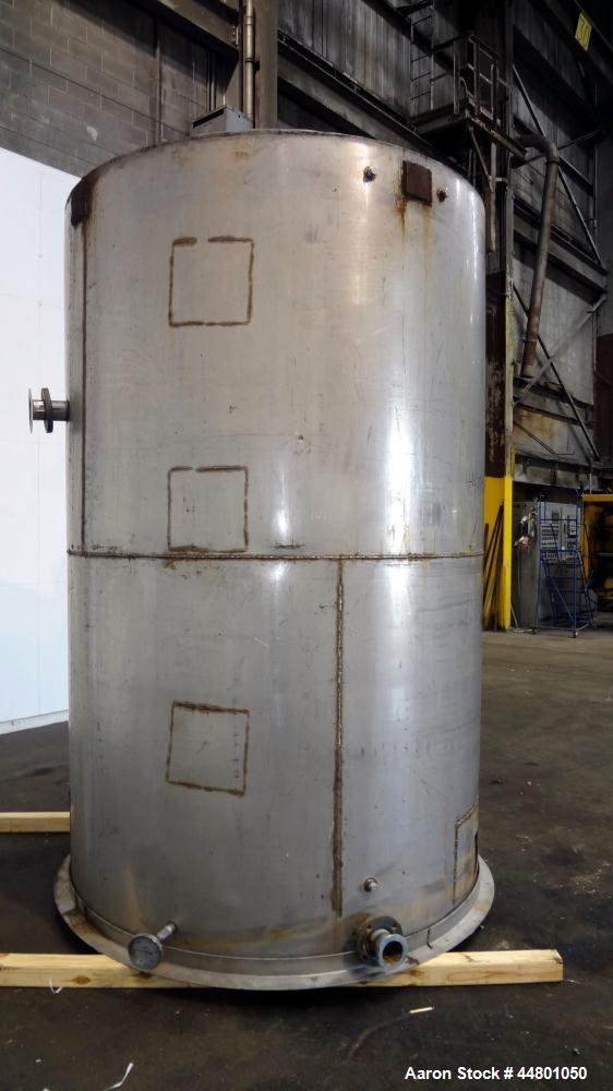 "Used- Tank, 2300 Gallons, 304 Stainless Steel, Vertical. Approximately 76"" diameter x 120"" straight side, coned top, flat bo..."