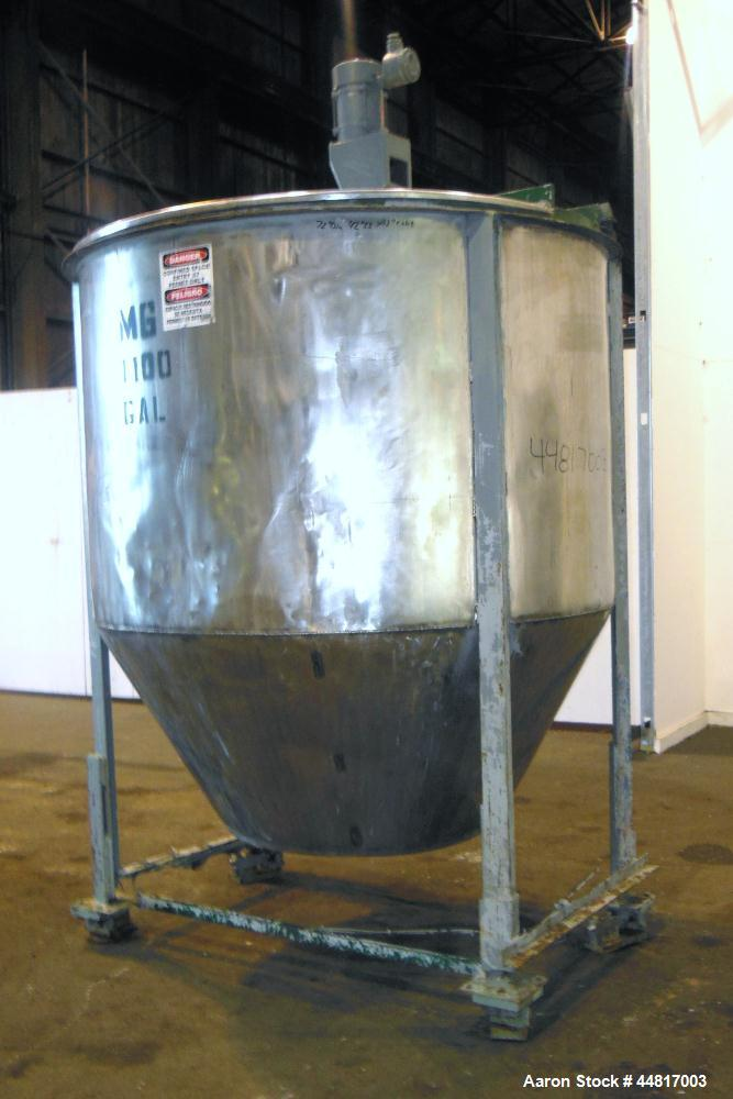 "Used- Tank, 1000 Gallons, 304 Stainless Steel, Vertical.  Approximately 72"" diameter x 42"" straight side x 33"" cone. Flat op..."