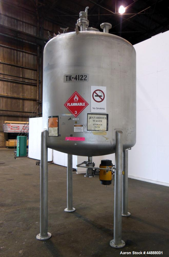 "Used- Precision Stainless Pressure Tank, 1000 Gallon, 304L Stainless Steel, Vertical. 66"" Diameter x 60"" straight side, dish..."