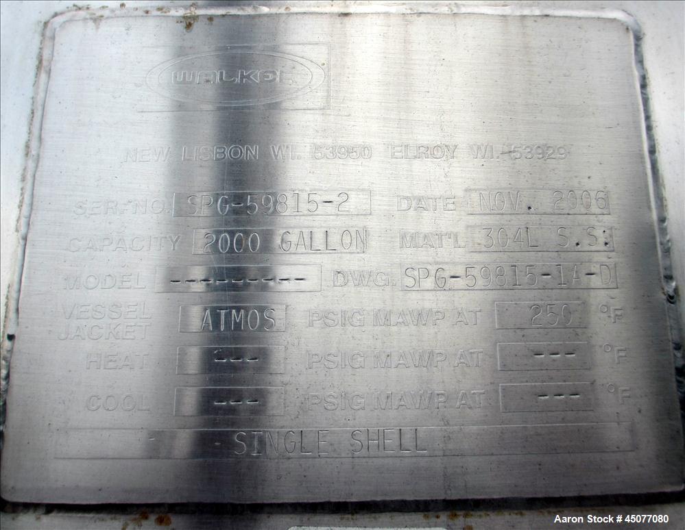 Used- 2000 Gallon Stainless Steel Walker Storage Tank