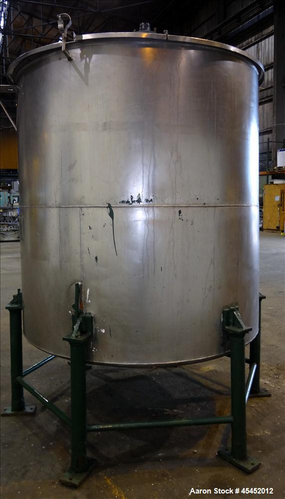 "Used- Tank, 1,200 Gallons, 304 Stainless Steel, Vertical. Approximate 71"" diameter x 71"" Straight Side, Flat Top and Dish bo..."