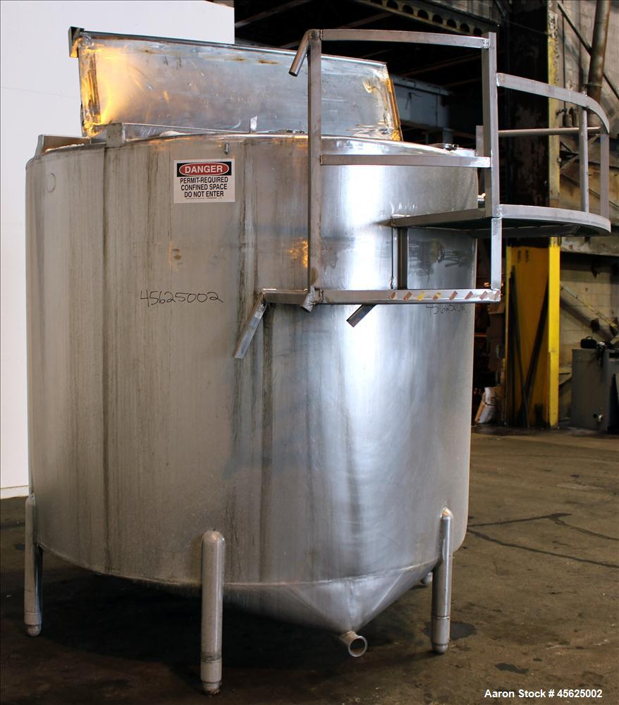 "Used- Tank, Approximately 2000 Gallons, 304 Stainless Steel, Vertical. Approximately 90"" diameter x 74"" straight side. Flat ..."