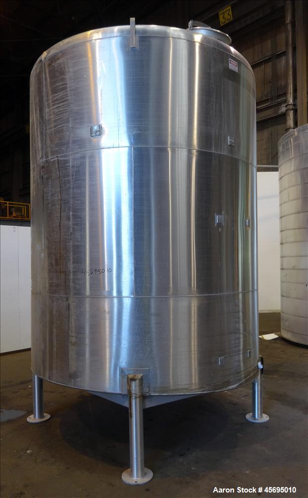 "Used- Tank, 3500 Gallon, 304 Stainless Steel, Vertical. 96"" Diameter x 115"" straight side, dished top, sloped bottom. (1) Sp..."