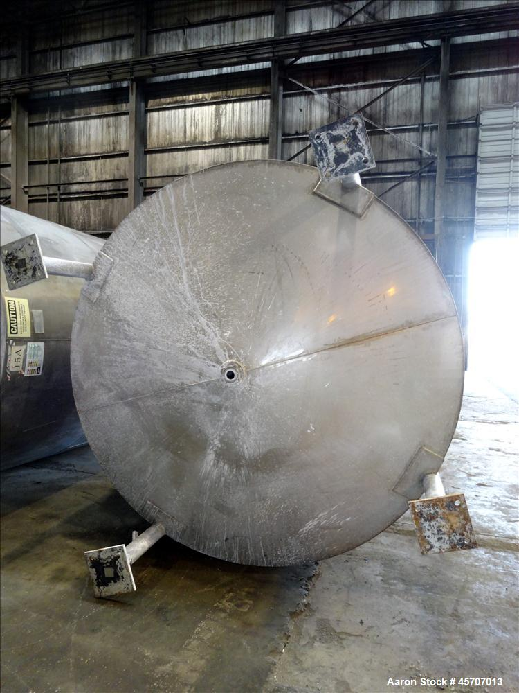 "Used- Bright Sheet Metal Tank, Approximately 4,000 Gallon, 304 Stainless Steel, Vertical. 100"" diameter x 120"" straight side..."
