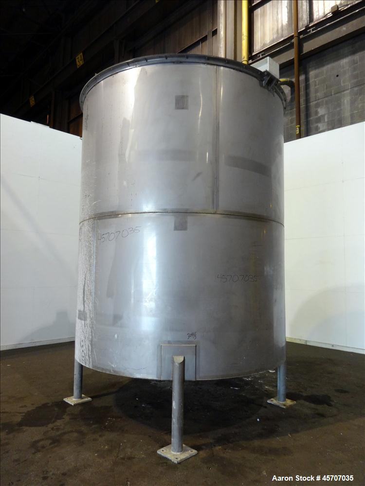 "Used- Bright Sheet Metal Tank, Approximately 4,000 Gallon, 304 Stainless Steel. 100"" diameter x 120"" straight side. Cone bot..."