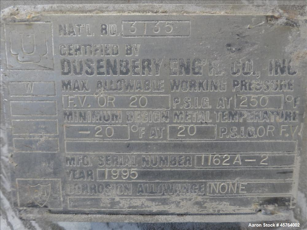 Used- Dusenbery Tank, Approximately 1,000 Gallons, Vertical, 304 Stainless Steel