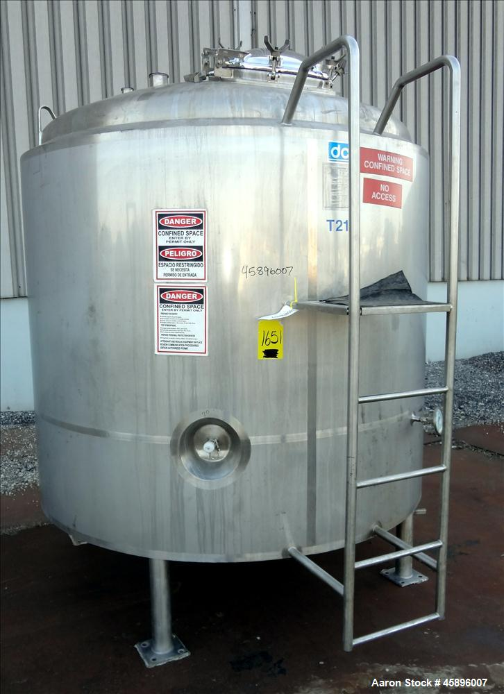 "Used- DCI Pressure Tank, 1000 Gallon, 316L Stainless Steel, Vertical. 76"" Diameter x 52"" straight side, dished top and botto..."
