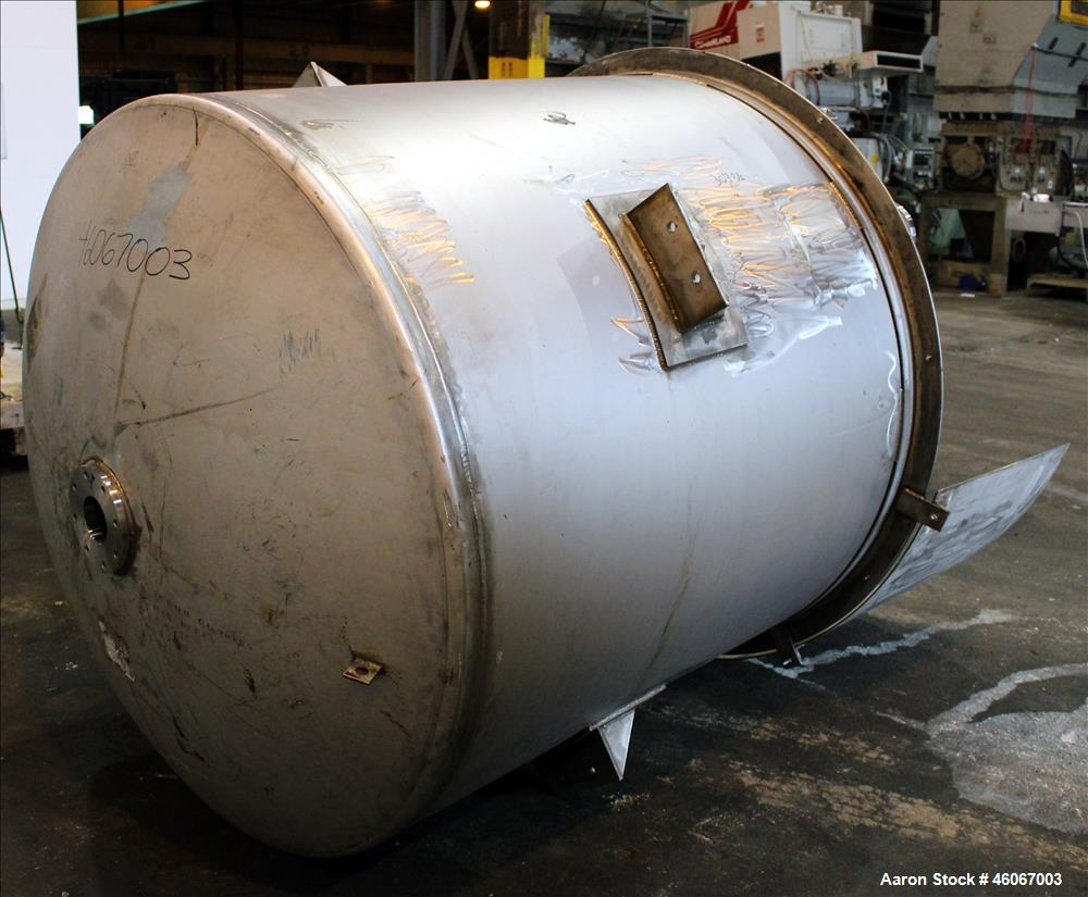 "Used- Dispersion Tank, Approximately 1000 Gallon, 304 Stainless steel, Vertical. Approximately 66"" diameter x 60"" straight s..."