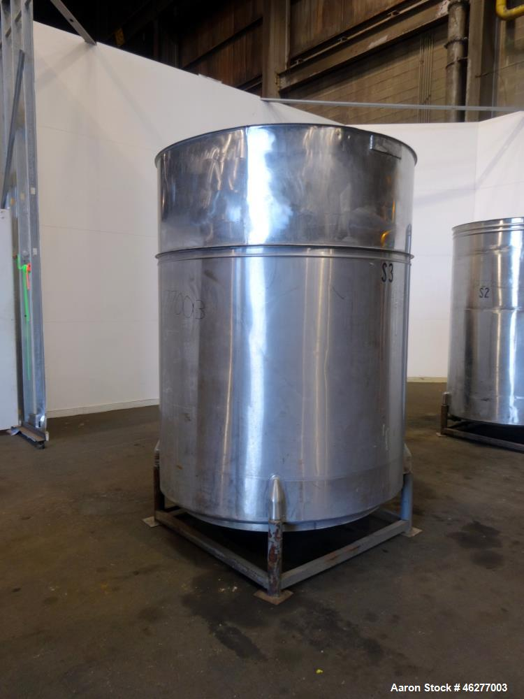 "Used- Tank, Approximately 1,000 Gallons, 304 Stainless Steel, Vertical. Approximately 62"" diameter x 79"" straight side. Flat..."