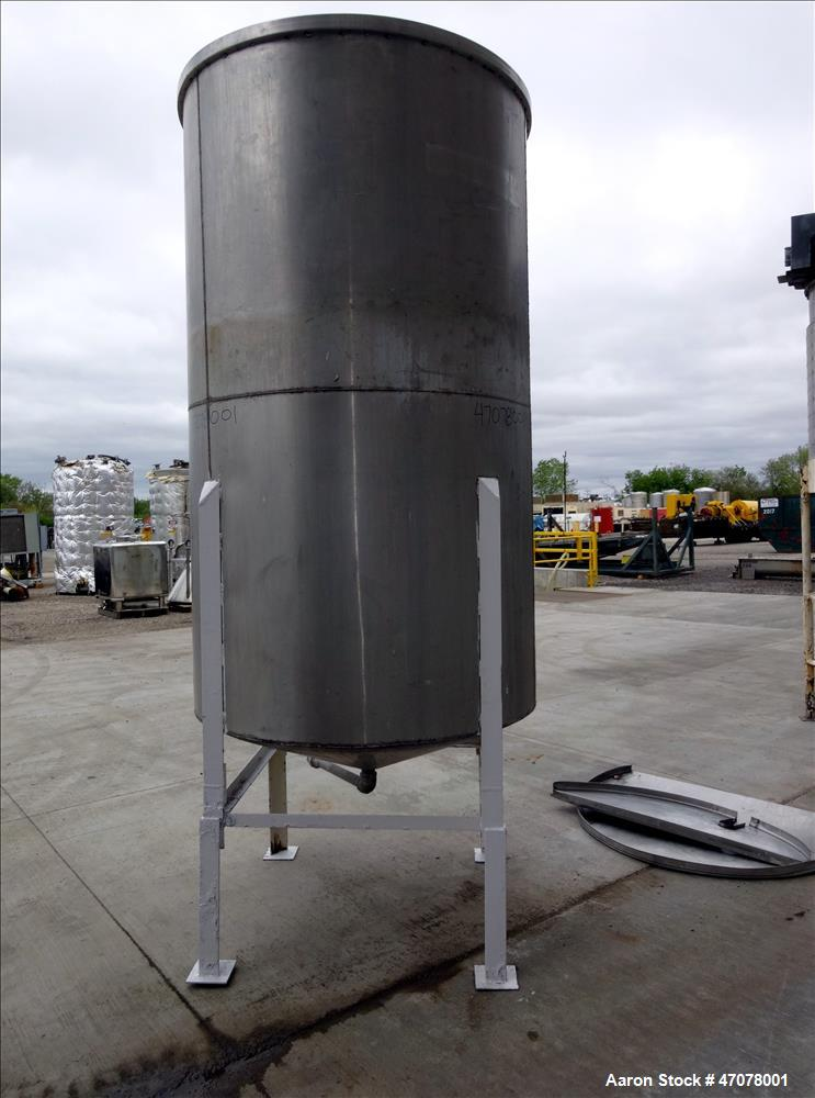 "Used- Tank, Approximate 1,000 Gallon, 304 Stainless Steel, Vertical. Approximate 56"" diameter x 94"" straight side. Open top ..."