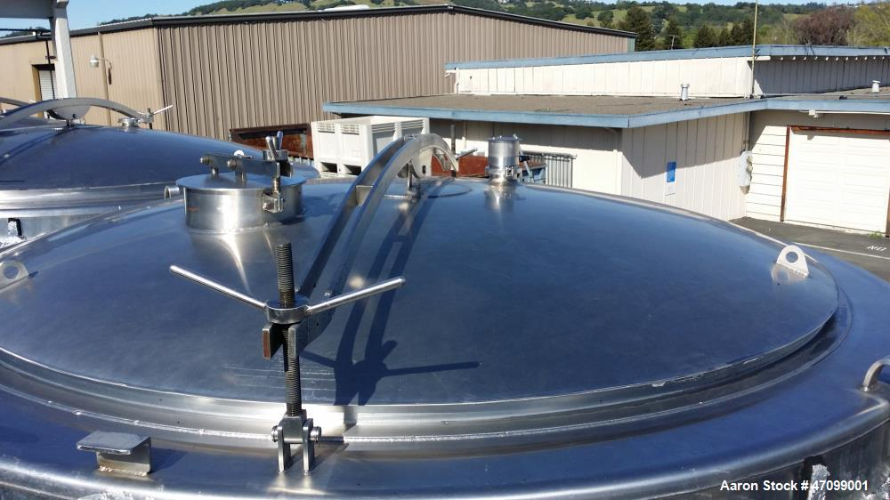 """Used- Approx. 3000 Gallon Stainless Steel Jacketed Wine Tank. Approx. 96"""" diameter x 96"""" straight side. Open top with a stai..."""