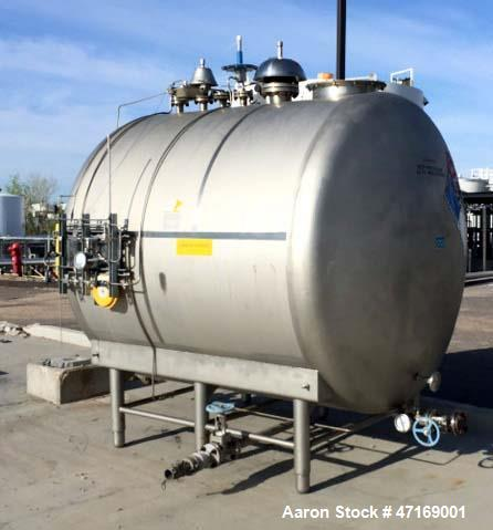 "Used- Stainless Steel Tank, 2,000 Gallon, Horizontal. 84"" diameter x 78"" long. Dished heads. Internal rated atmospheric at 1..."
