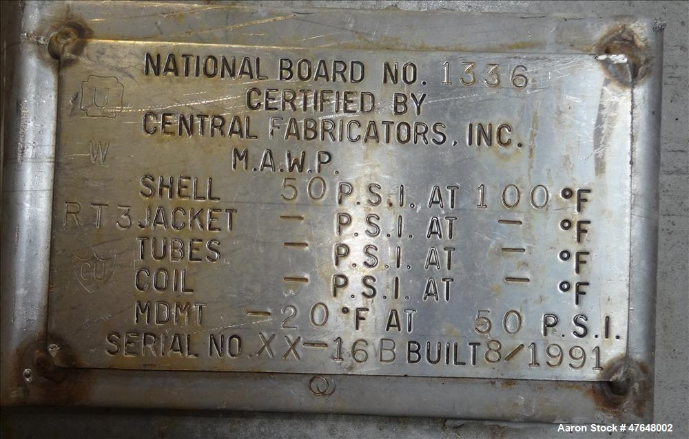 Used- Central Fabricators Inc. Tank, Approximate 1,400 Gallon, 304 Stainless Ste