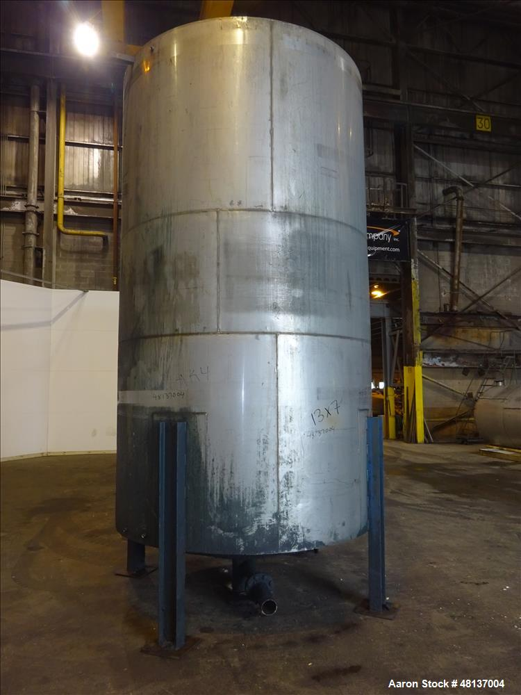 "Used- Tank, 4,000 Gallon, 304 Stainless steel, Vertical. Approximate 89"" diameter x 155"" straight side, flat top, cone botto..."