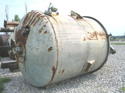 "USED: 3000 Gallon stainless steel jacketed mix tank/reactor. 90"" OD x105"" straight side, 316 stainless steel construction wi..."