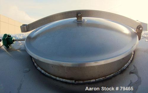 "Used- Tank, 4,000 Gallon, 316 Stainless Steel, Horizontal. 96"" Diameter x 120"" straight side, slightly coned ends. Openings:..."
