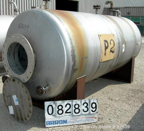 "USED: Tank, 1,250 gallon, 304 stainless steel, horizontal. 54"" diameter x 120"" straight side, dished ends. Openings: top (2)..."