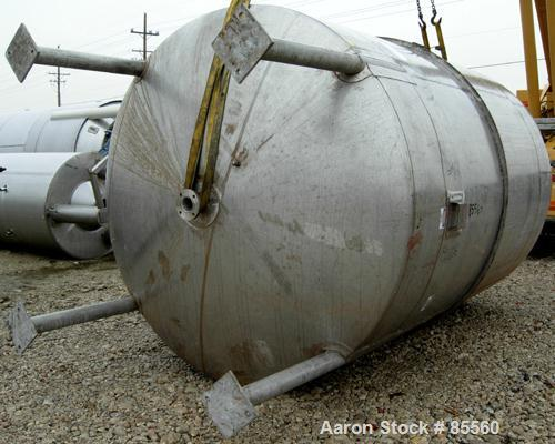 "USED: Brighton Corp pressure tank, 4000 gallon, 316L stainless steel, vertical. 96"" diameter x 120"" straight side, dish top ..."