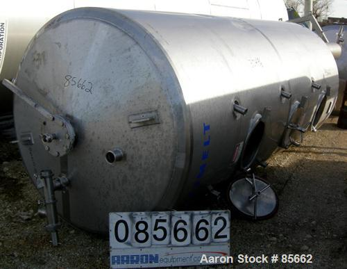 "USED: Reimelt pressure tank, 1849 gallon (7000 liter), 304 stainless steel, vertical. 64"" diameter x 138"" straight side, dis..."