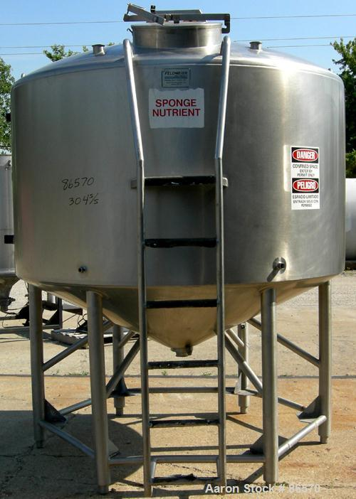 "Used- Feldmeier Mix Tank, 1000 Gallon, 304 Stainless Steel, Vertical. 82"" Diameter x 48"" straight side. Dished top, 44"" cone..."