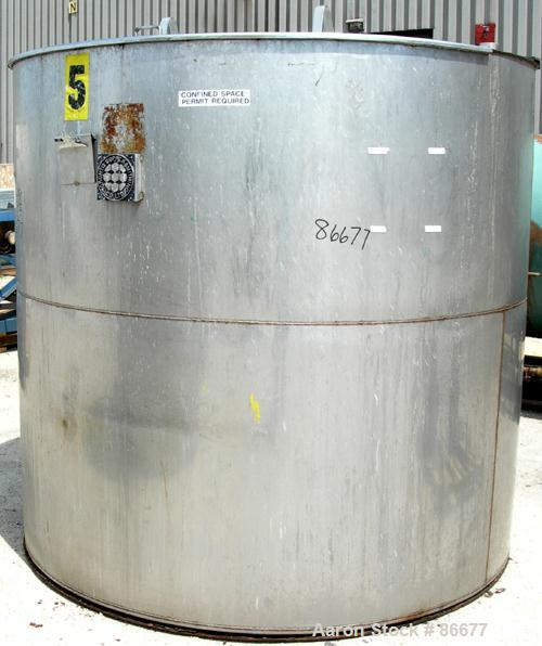 "USED: Toronto Coppersmithing Company tank, 1900 gallon, 304 stainless steel, vertical. 84"" diameter x 80"" straight side. Fla..."
