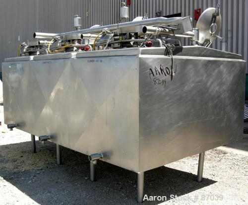 Used- 3 Compartment Tank, 1,500 total gallons, 304 stainless steel, horizontal. Each compartment has an approximate 500 gall...