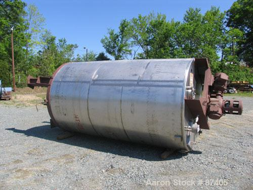 "USED: Tank, 2800 gallon, 304 stainless steel. 6'6"" diameter x 11'1"" straight side, open top, dish bottom, non-jacketed. Vert..."