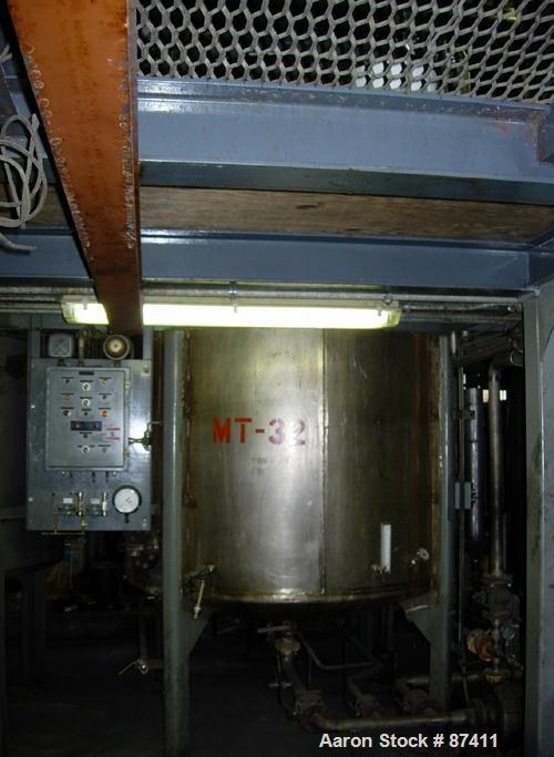 "USED: Tank, 2403 gallon, 316 stainless steel. 6'6"" diameter x 9'7"" straight side, flat top, dish bottom, internal atmospheri..."