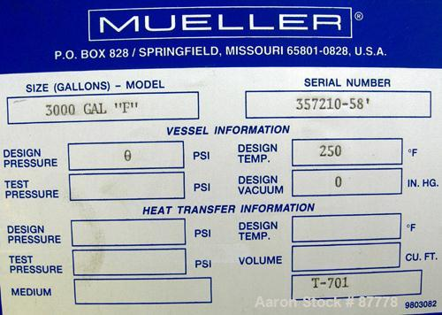 """Unused-NEW: Mueller tank, 3000 gallon, 304/304L stainless steel, vertical. 96"""" diameter x 86"""" straight side. Dished top and ..."""