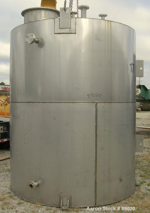 "Used- Keller Sales And Engineering Tank, 2,858 Gallon, 304 Stainless Steel, Vertical. Approximately 90"" diameter x 108"" stra..."