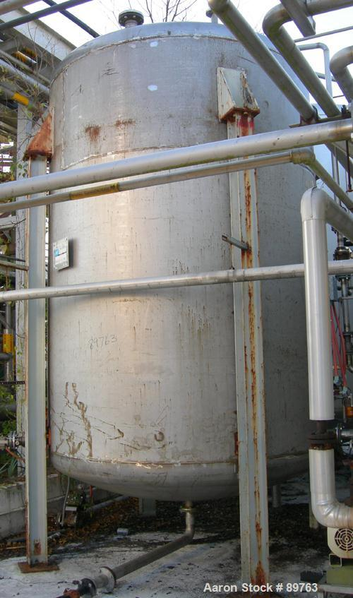 "USED: Approximate 5000 gallon stainless steel storage tank. Approximate 8'-6"" diameter x 11' straight side. Dished heads. Mi..."