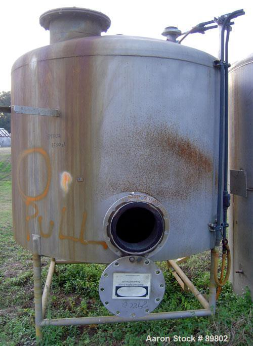 "Used- Tank, 1,500 Gallon, stainless steel, vertical. 84"" diameter x 60"" straight side. Dish top, cone bottom. Openings:  top..."