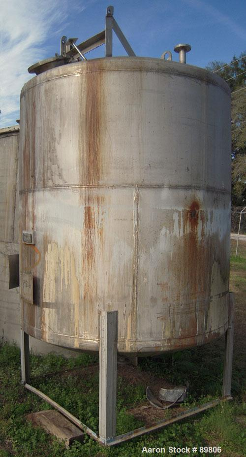 "Used- Metal Equipment Company Tank, 2,000 gallon, stainless steel, vertical. Approximate 80"" diameter x 84"" straight side. D..."