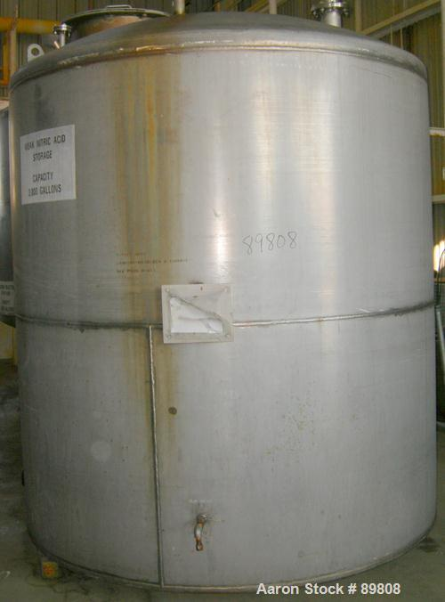 "Used- Metal Equipment Company Tank, 3,000 gallon, stainless steel, vertical. Approximate 96"" diameter x 96"" straight side. D..."