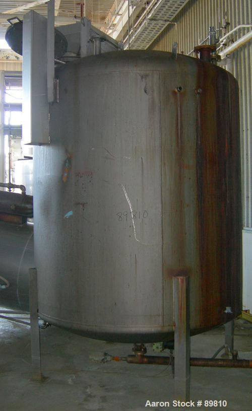 "USED: Approximate 1,800 gallon stainless steel tank. Dished heads. 6'6"" diameter x 7' straight side. Mounted on (4) I-beam l..."