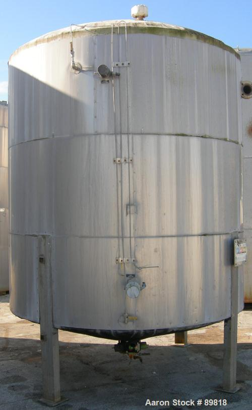 USED: Metal Equipment tank, approximately 3000 gallon, stainless steel. Insulated. 8' diameter x 8' straight side. Dish top,...