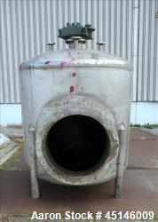 Used- Mix Tank, Approximate 1,000 Gallon, 304 Stainless Steel, Vertical.