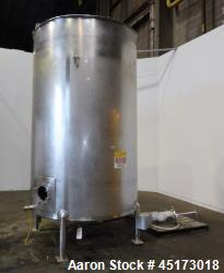 "Used-A & B Process Systems Tank, Approximately 2000 Gallons, 304 Stainless Steel, Vertical. Approximate 74"" diameter x 116"" ..."